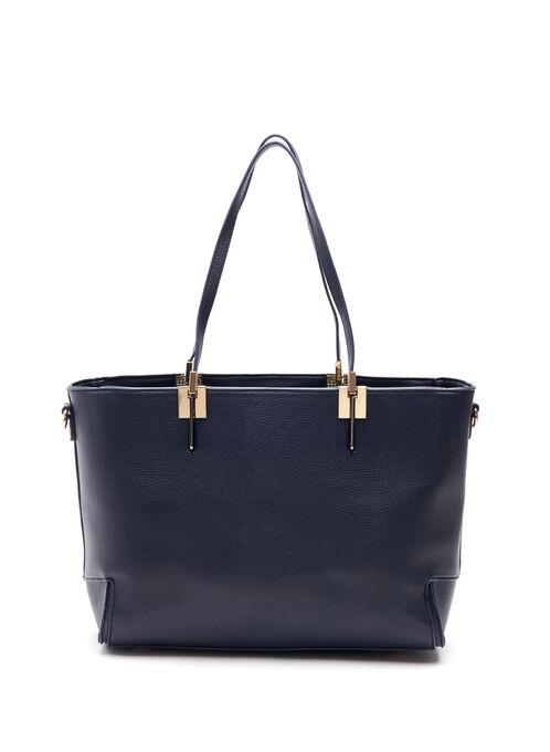 Faux Leather Folded Corner Tote Bag, Blue, hi-res