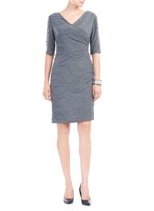 Elbow Sleeve Asymmetrical Knit Dress, Grey, hi-res