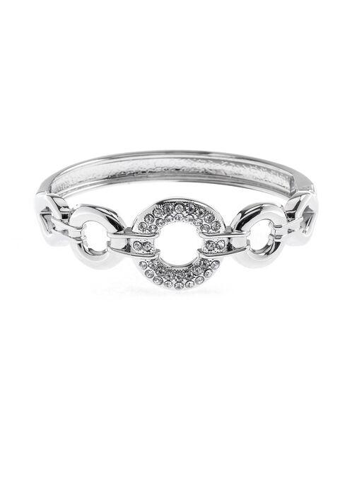 Crystal Ring Hinge Bracelet, Silver, hi-res