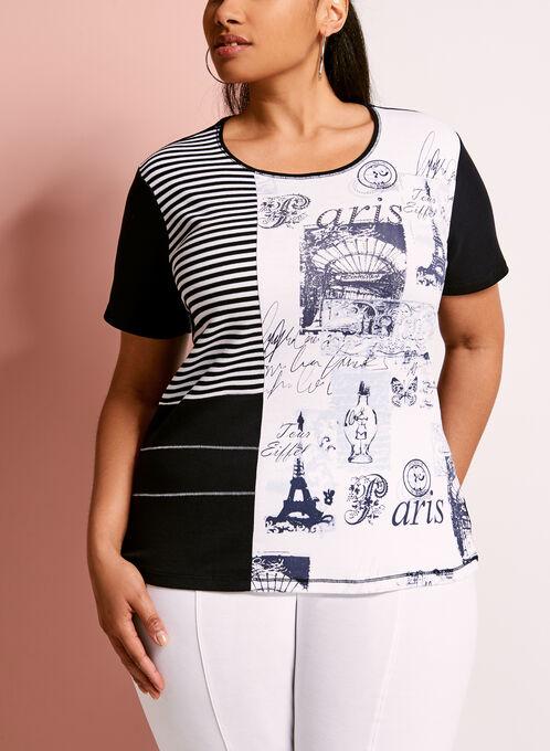 Embellished Patchwork Print T-Shirt, Blue, hi-res