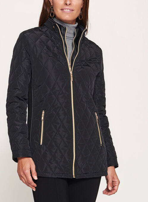 Diamond Quilted Double Zip Coat, Black, hi-res