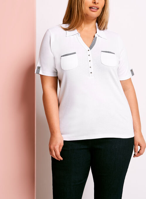 Dual Pocket Gingham Trim Polo, White, hi-res
