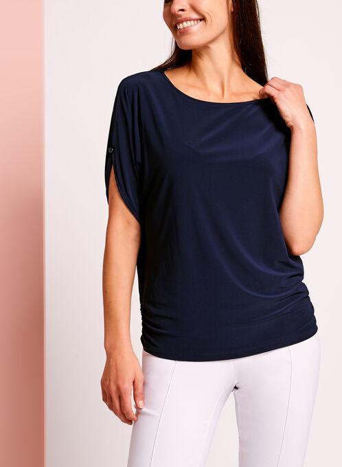 Cold Shoulder Button Trim Top, Blue, hi-res