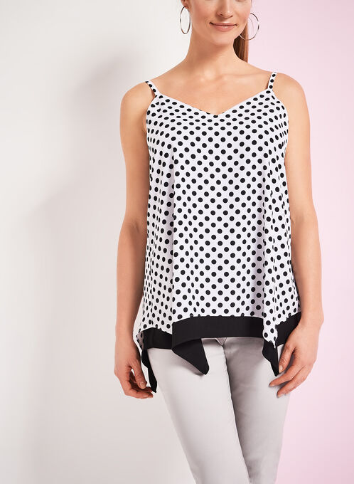 V-Neck Dot Print Tank Top, Black, hi-res
