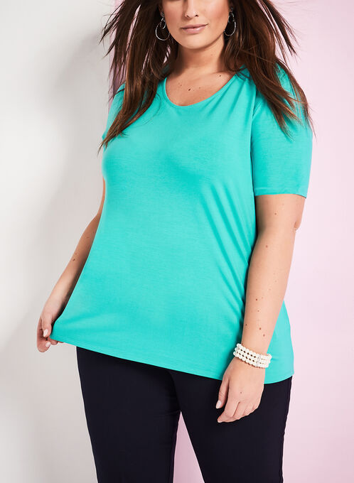 Scoop Neck T-Shirt, Blue, hi-res
