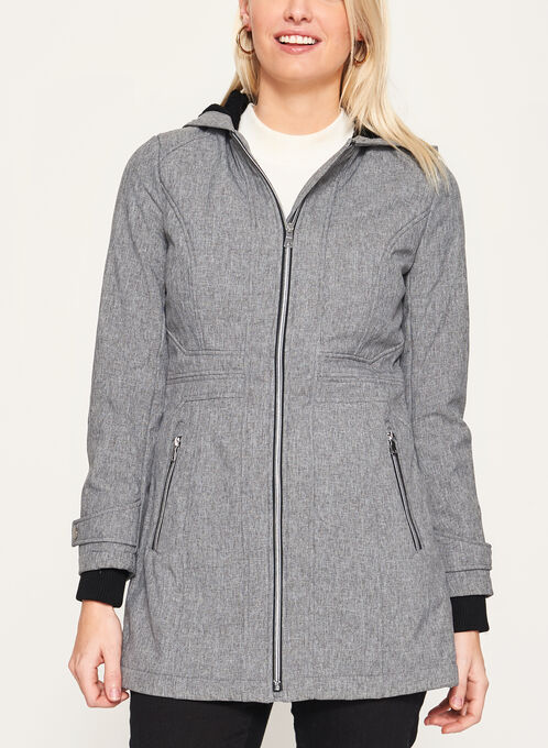 Softshell Fleece Lined Coat, Grey, hi-res