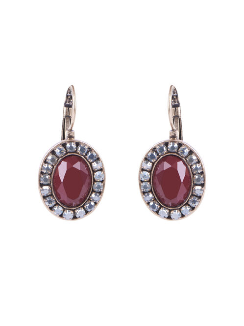 Oval Stone Crystal Earrings , Red, hi-res