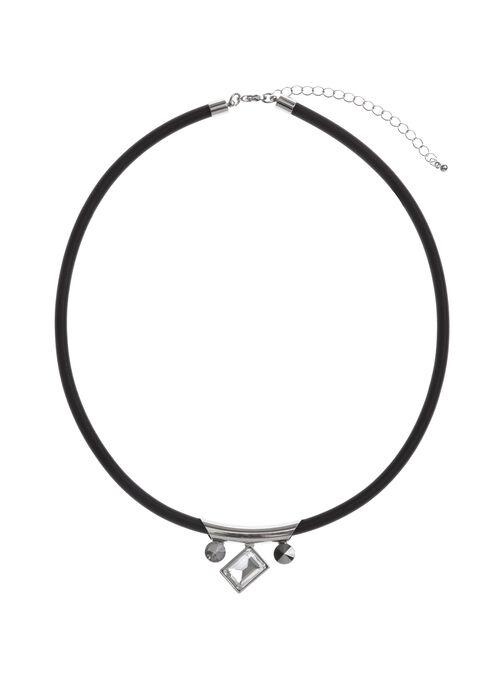 Geometric Crystal Stone Choker, Black, hi-res