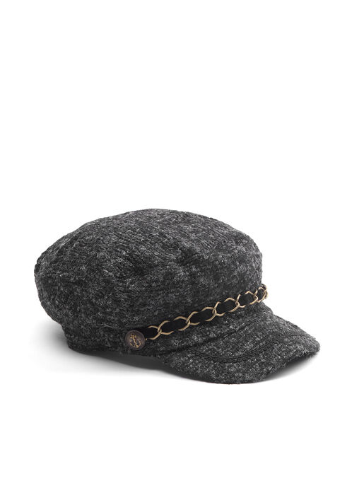 Chain Trim Knit Cap, Black, hi-res
