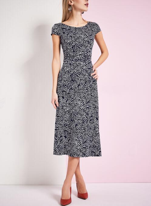 Jersey Dot Print Dress, Blue, hi-res