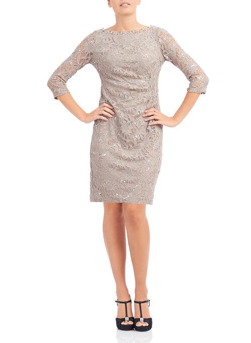 Sequined Side Ruched Dress, Brown, hi-res