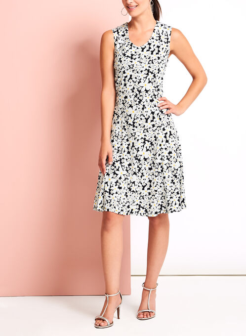 Daisy Print Fit & Flare Dress, Black, hi-res