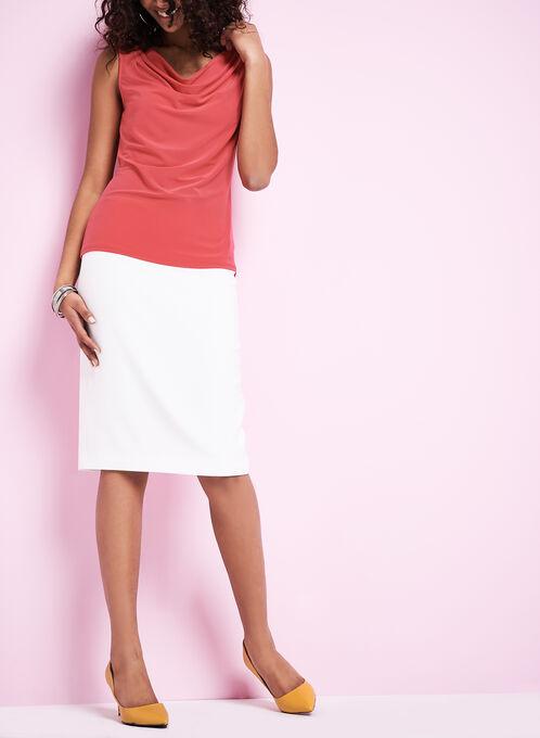 Back Zip Straight Skirt, Off White, hi-res