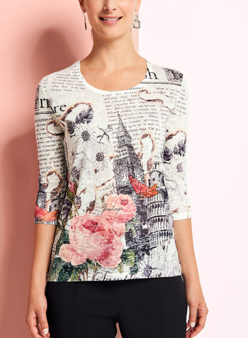 3/4 Sleeve Floral Print Top, Grey, hi-res