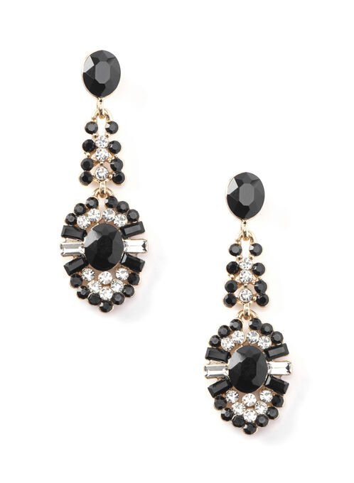 Crystal Chandelier Earrings , Black, hi-res