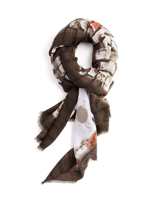 Brick Print Lightweight Scarf, Brown, hi-res
