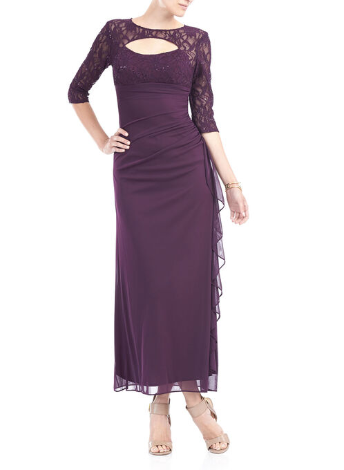 3/4 Sleeve Sequined Lace Gown, Purple, hi-res