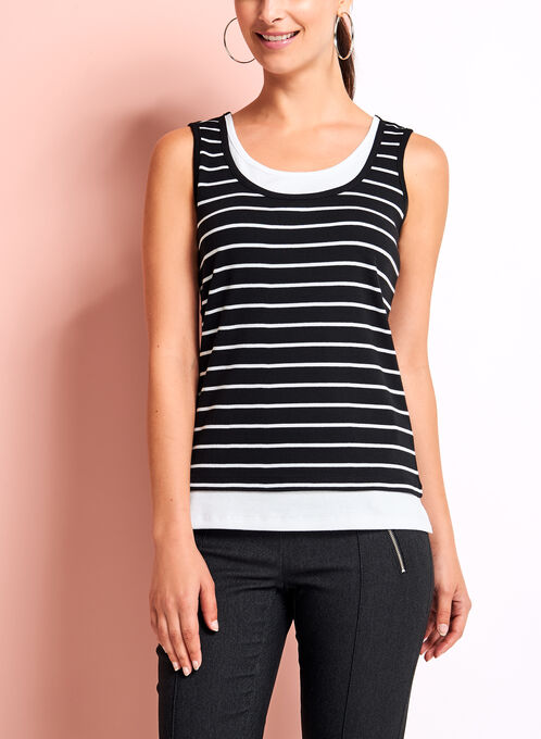 Stripe Cotton Faux Layered Camisole, Black, hi-res