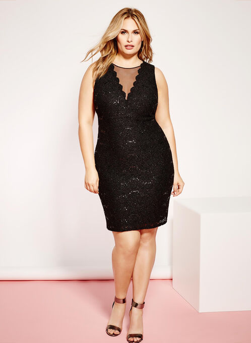 Glitter Lace Mesh Sheath Dress, Black, hi-res