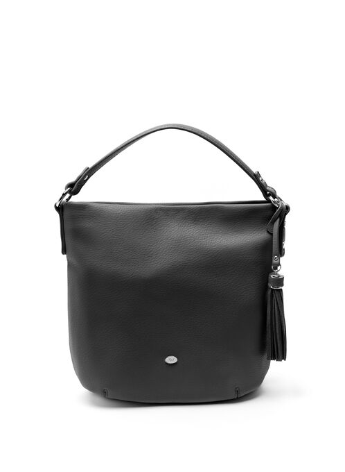 Tassel Detail Hobo Bag, Black, hi-res