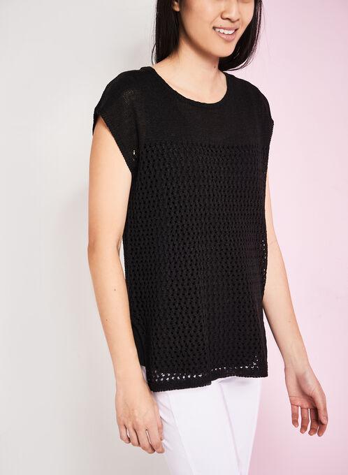 Drop Shoulder Perforated Knit Top, Black, hi-res
