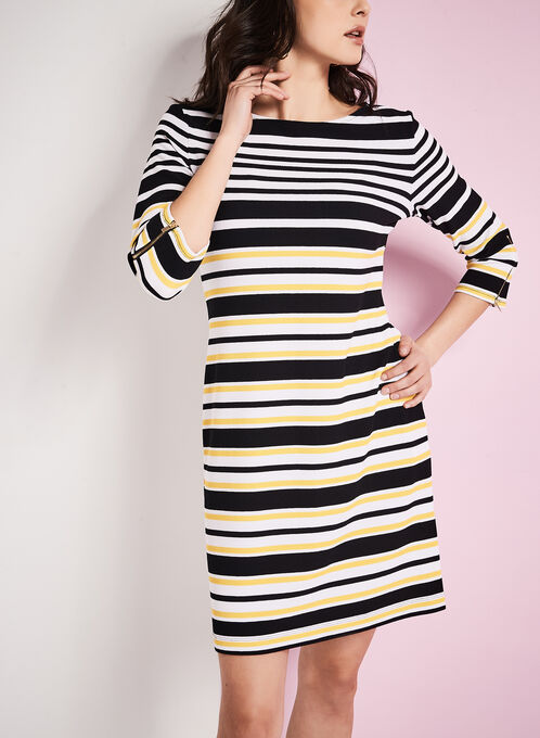 3/4 Sleeve Stripe Print Dress, White, hi-res