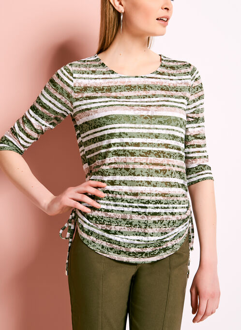 Stripe Print Side Tie Top, Green, hi-res