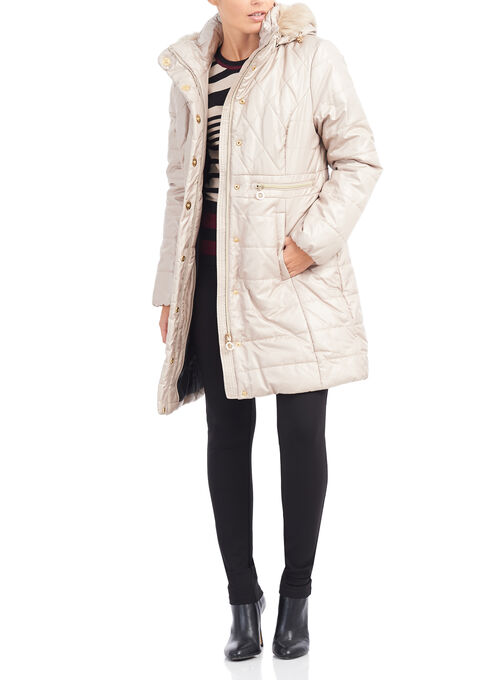 Marcona Quilted Polyfill Coat, Off White, hi-res