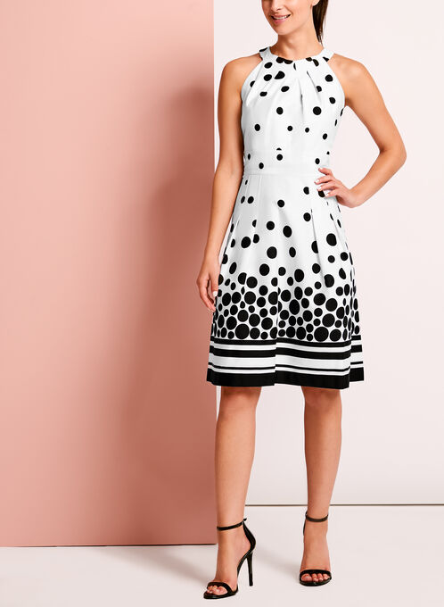 Cleo Neck Dot Print Dress, Black, hi-res