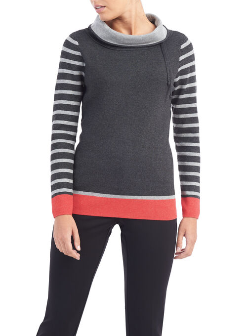 Long Sleeve Knit Cowl Neck Top, Grey, hi-res