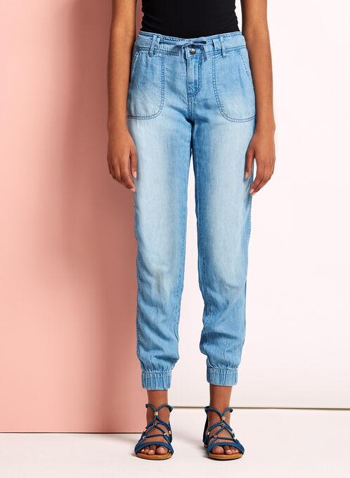 Slim Leg Light Wash Tencel Pants, Blue, hi-res