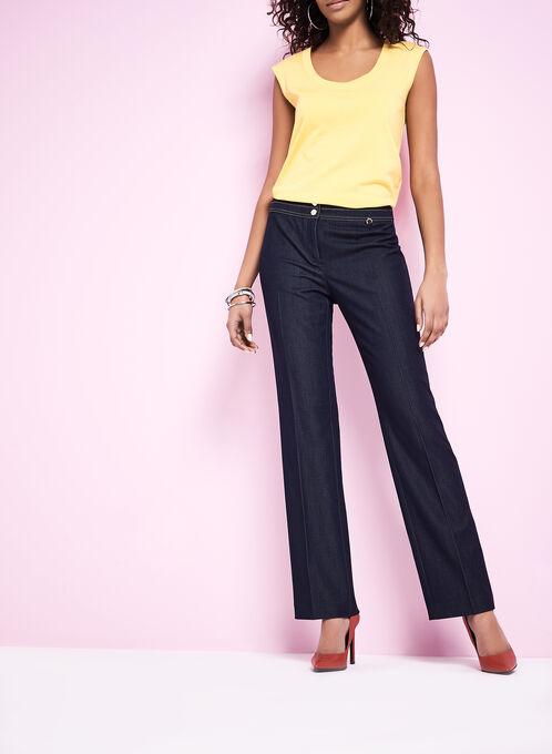 Straight Leg Modern Fit Pants, Blue, hi-res