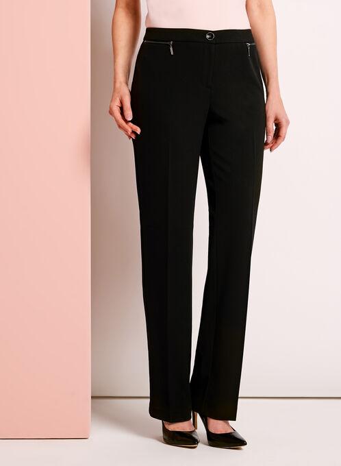 Crêpe Straight Leg Pants , Black, hi-res