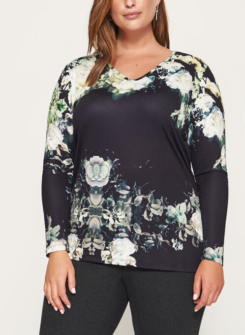 Long Sleeve V-Neck Top, Green, hi-res