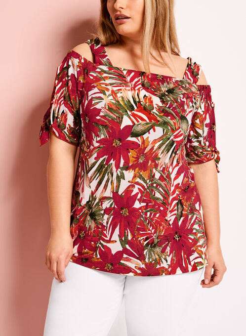 Floral & Palm Print Off The Shoulder Top, Green, hi-res