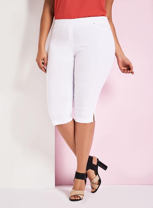 Modern Fit Bengaline Capri Pants, White, hi-res
