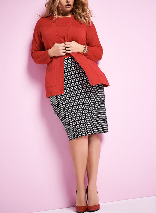 Knit Pointelle Cardigan, Red, hi-res