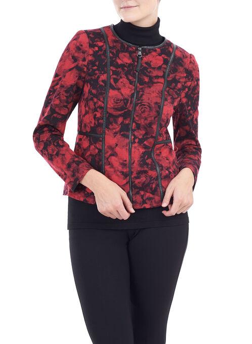 Floral Print Knit Jacket , Red, hi-res