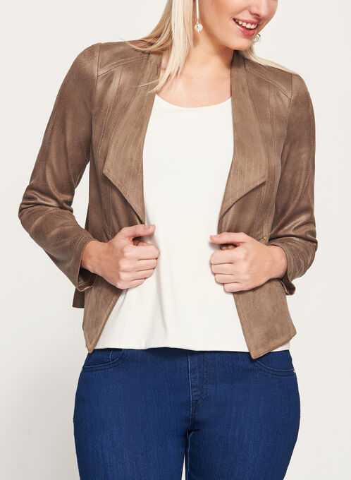 Vex - Faux Suede Zipper Trim Jacket, Brown, hi-res