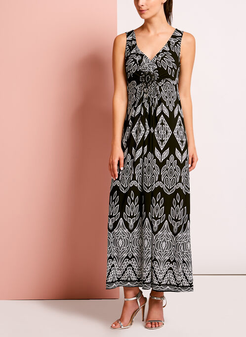 Sleeveless Medallion Trim Maxi Dress, Black, hi-res