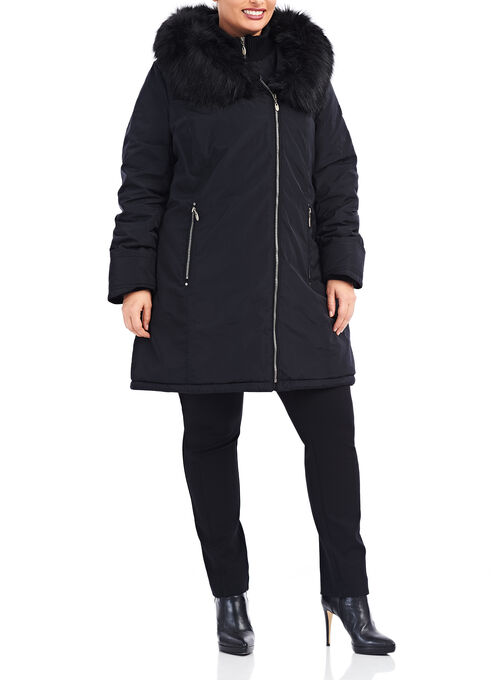 Novelti Faux Fur Polyfill Coat , Black, hi-res
