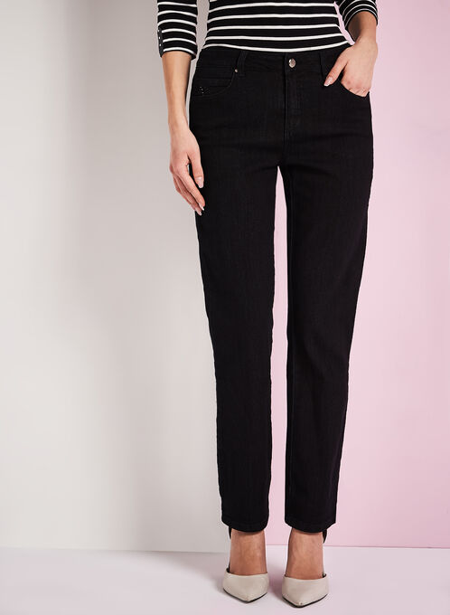 Simon Chang Straight Leg Denim Pants, Black, hi-res