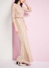 3/4 Sleeve Metallic Blouson Gown, Brown, hi-res
