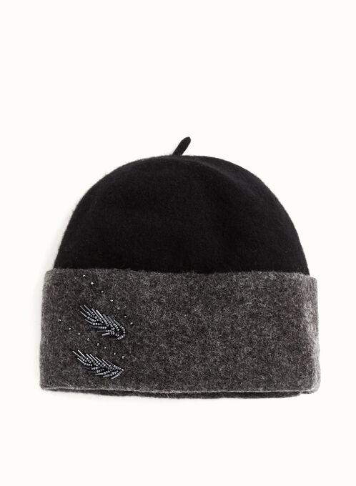 Beaded Wool Hat , Black, hi-res