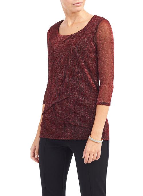 3/4 Sleeve Lurex Top, Red, hi-res