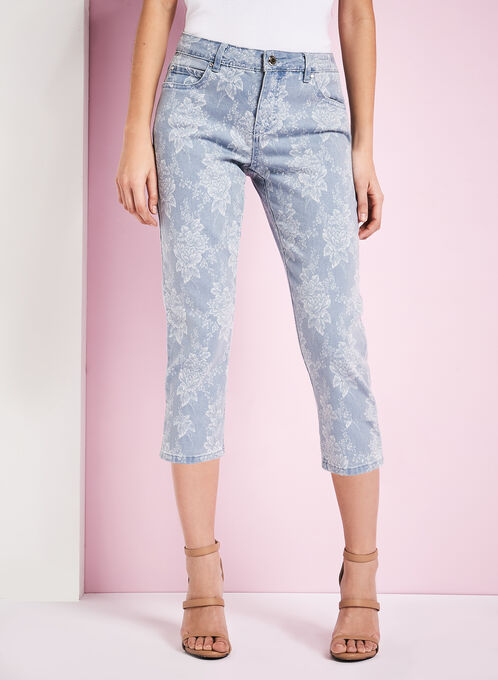 Simon Chang Floral Print Chambray Capris, Blue, hi-res