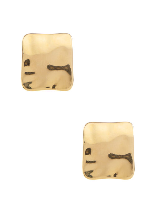 Hammered Square Stud Earrings, Gold, hi-res