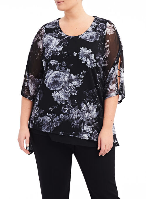 Asymmetrical Floral Print Tunic , Black, hi-res