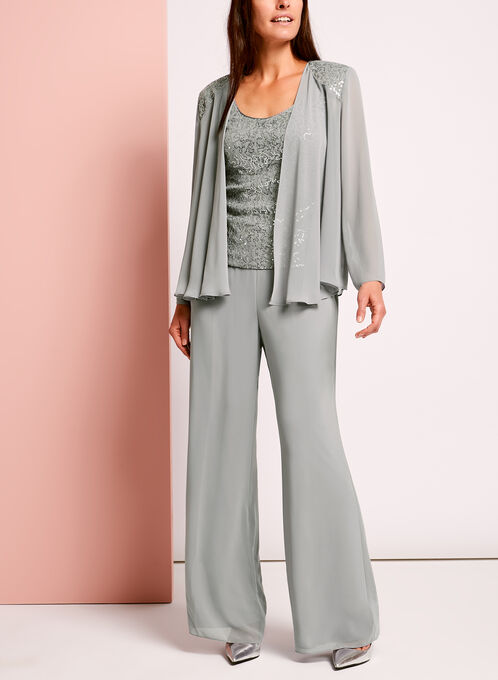 3-Piece Sequined Lace Pantsuit, Grey, hi-res