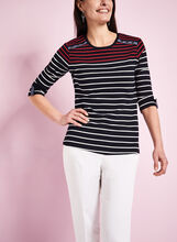 3/4 Sleeve Stripe Print T-Shirt, Blue, hi-res